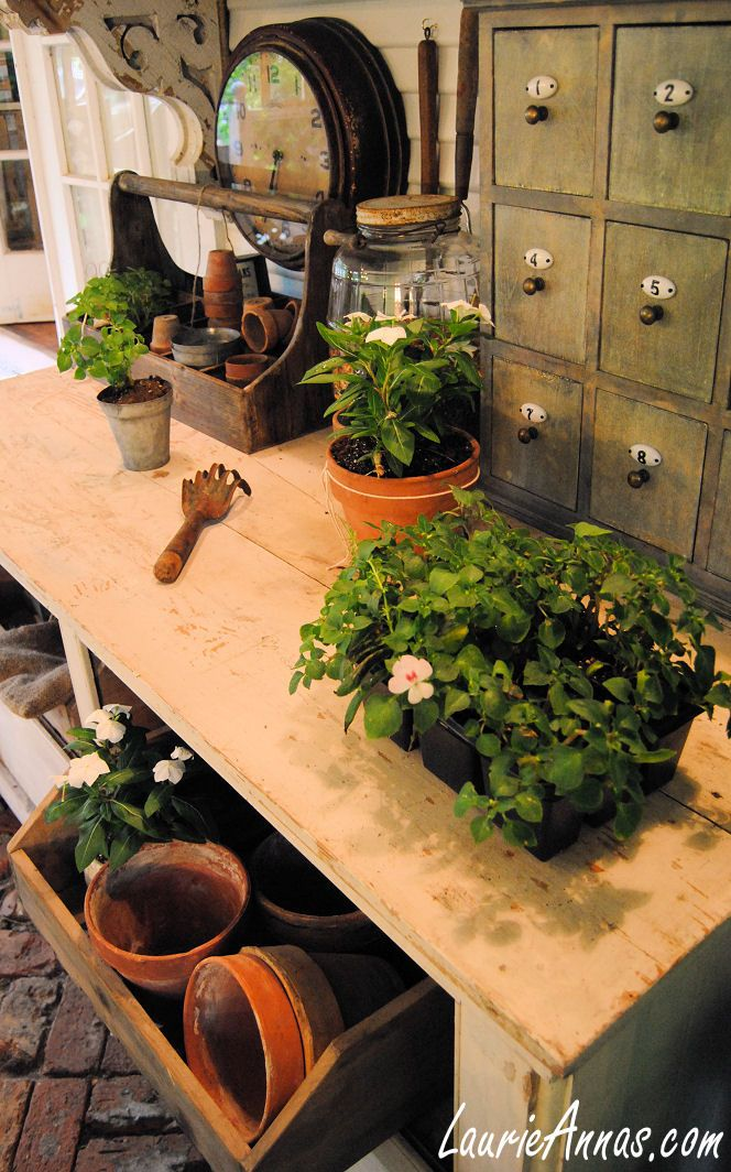 221 best Potting Benches images on Pinterest Potting benches