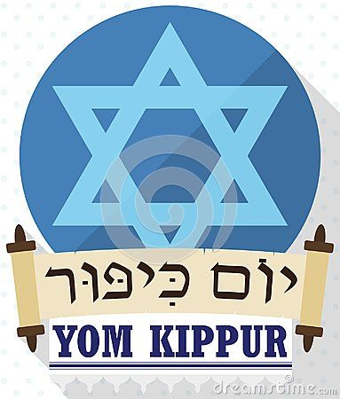 Poster in flat style and long shadow with David`s star behind ancient scrolls and white tallit with stripes and fringes to celebrate Jewish Yom Kippur -or Day of Atonement, written in Hebrew-.