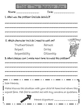 Use this behavior log for students to complete during think time. It also aligns with the 6 pillars of characters for