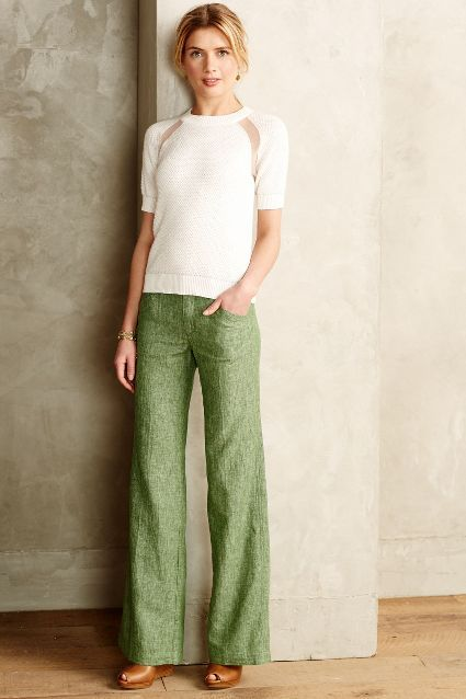 Love Pilcro Pants! Great color for spring! Pilcro Herringbone Green Linen Trousers