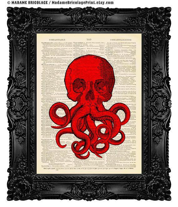 Skull Octopus Wall Art Funny Hydra Sea by MadameBricolagePrint