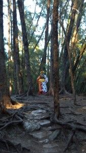 Horrifying clown statue deep in thewoods. I would literally crap my pants.
