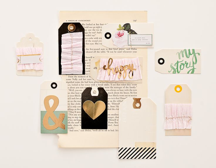 Layered tags from Maggie's new product line >> OPEN BOOK.