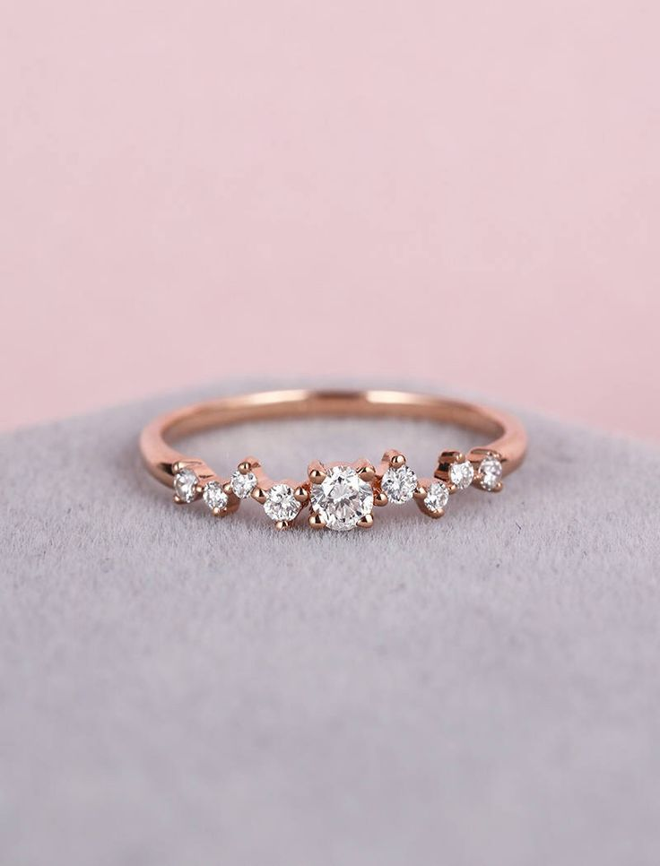 Diamond Cluster ring Twig engagement Ring Rose Gold Mini Floral Unique Wedding Women Bridal set Jewelry Multi Gift Promise Anniversary – Jewelry