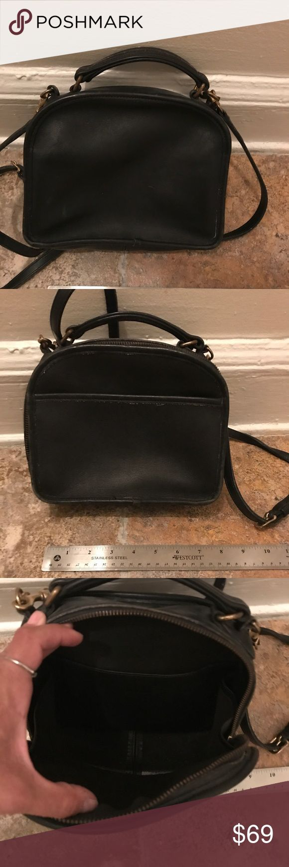 Vintage. Coach Made in USA black leather bag Remember when coach was made in USA?!  Cute bag I think it was called lunchbox. Black leather. More than twenty years old but in great condition for its age. Gently used by me years ago.  Inside is spotless and all leather with no lining. Coach Bags Satchels