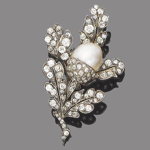 19-го века, жемчуг и бриллиантовая брошь, около 1870