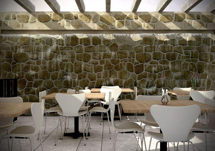 Terrace restaurant, 3d studio Max image