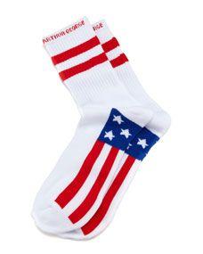 America Mens Socks, White