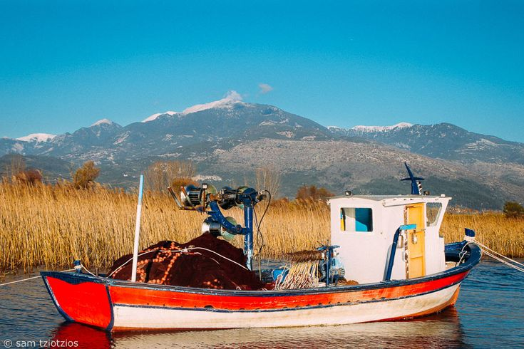 Red boat in Panaitolio.