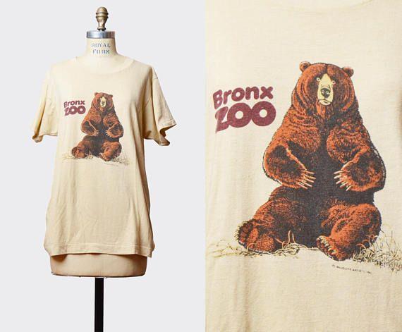 Vintage 1980s Bronx Zoo Bear TShirt / 1980s New York City Hipster T Shirt Graphic Tee Retro Tee Shirt