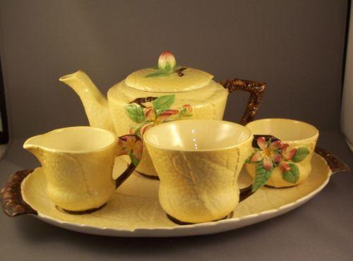 Carlton Ware Yellow Apple Blossom Breakfast Set on Tray   eBay