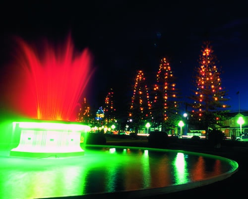 Enlarged View - The Tom Parker Fountain at night time. Napier
