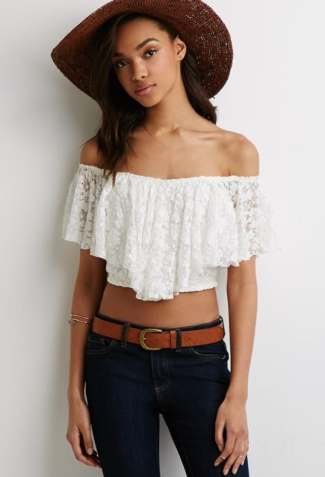 The Best Spring Break and Festival Fashion Finds: Off-the-Shoulder Lace Crop Top