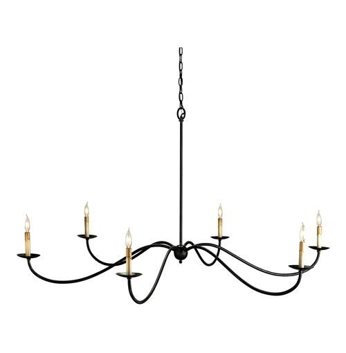 A wide reach of long, elegant arms makes this black wrought iron chandelier a piece of classic metal minimalist lighting.  Six lights are celebrated in understatement in this classic large minimalist chandelier.