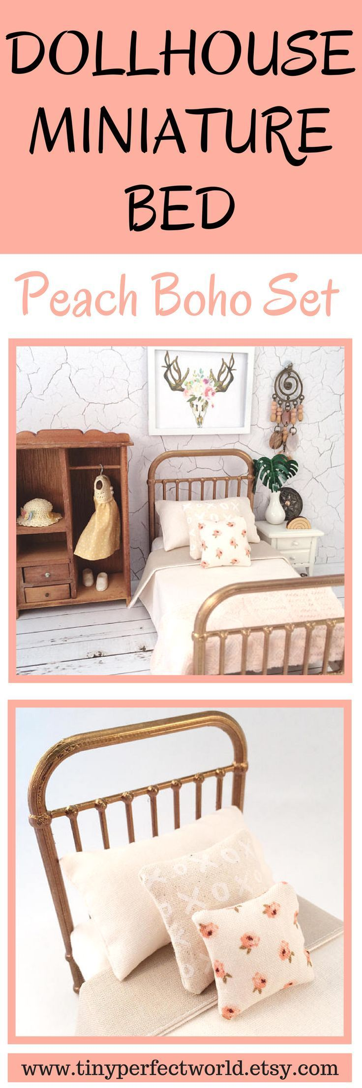 Miniature Bed, peach boho dollhouse bed, 1:12 scale modern bed, Incy Interiors Inspired miniature bed, modern miniature furniture.  Click to see details and for more dollhouse furniture from Tiny Perfect World. #dollhouseminiatures #dollhousefurniture #dollhouse #dollshouse