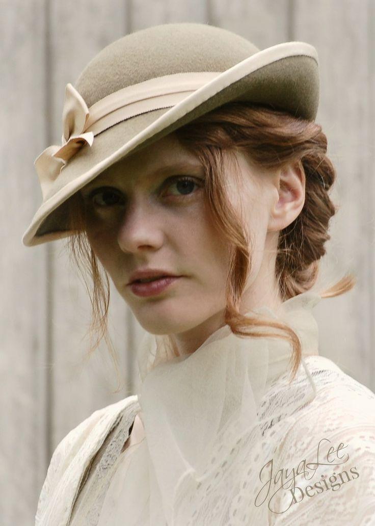 1930's style women's tilt hat made on antique hat block
