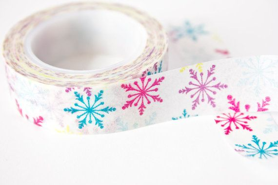 Rainbow Snowflake Washi Tape  Craft Supplies by SwanstonStSupplies get ready to tizzy up your parcels and crafts this winter, withe pretty snowflake washi tape!