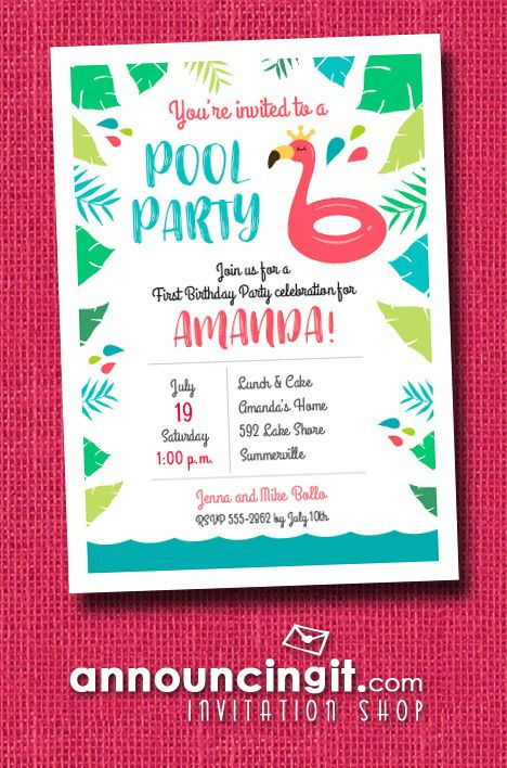 KIDS POOL PARTY BIRTHDAY INVITATIONS! A crown wearing pink flamingo pool is perfect for a girl's first birthday party invitations or any age birthday pool ...