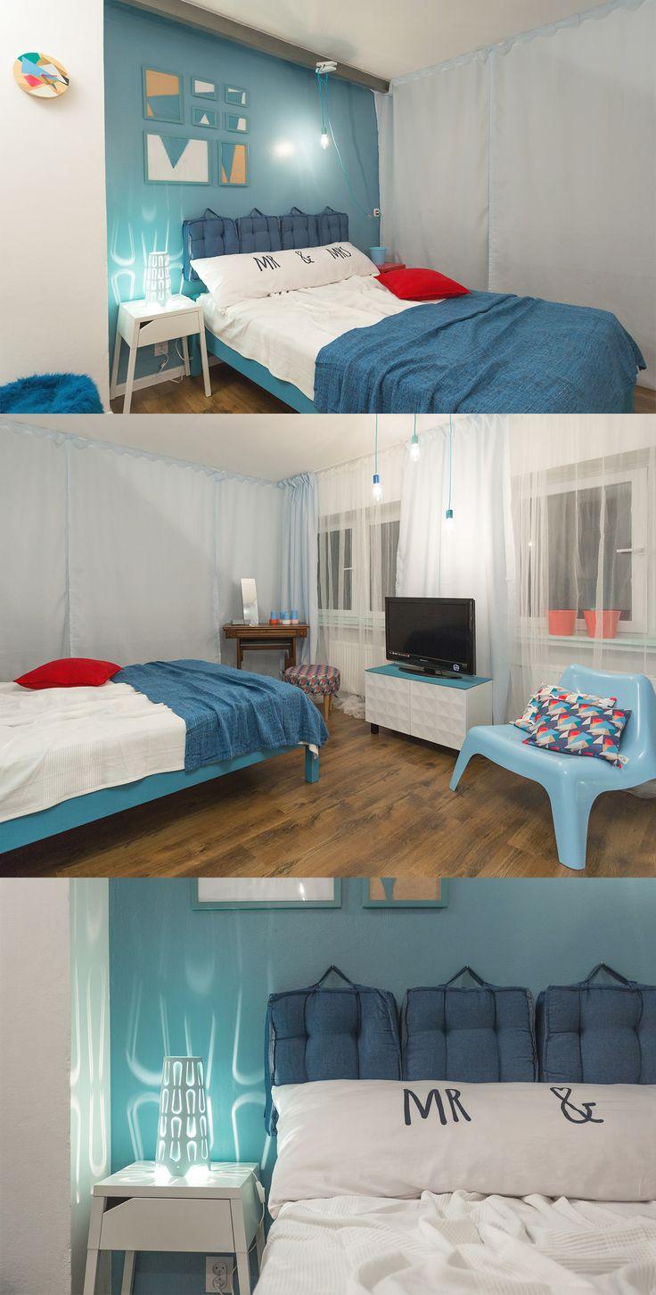 Sypialnia młodego małżeństwa, będąca wcześniej kawalerską enklawą w domu rodziców, pamiętającą wyczyny nastoletniego  wówczas gospodarza.