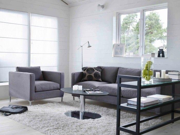 Wohnideen Wohnzimmer Mbel Grau Weisser Teppich