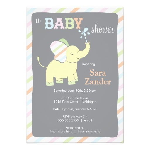 69 best baby shower and other party ideas images on pinterest baby neutral elephant baby shower invitation filmwisefo Image collections