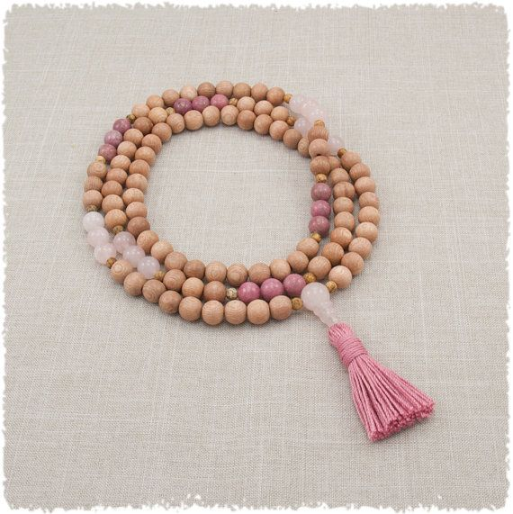 Mala Necklace - Rosewood with Pink Rose Quartz / Rhodonite - Meditation Beads - Balance - Love & Peace - Gifts For Her