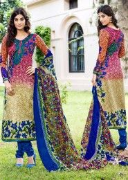 Casual Wear Multi Colour Pashmina Printed Churidar Suit