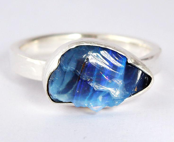 Raw boulder opal ring www.freesize.etsy.com