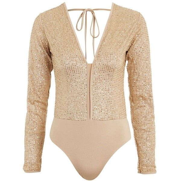Get Down - Gold Glitter Body by Wyldr ($64) ❤ liked on Polyvore featuring tops, gold, plunging v neck top, long sleeve plunge top, glitter top, gold top and beige long sleeve top