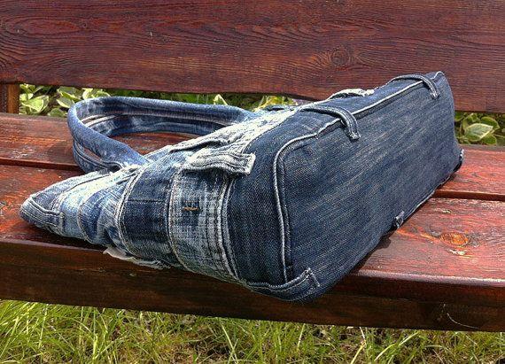 Jeans Tasche Handtasche recycelt distressed Grunge rock