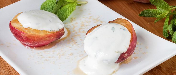 Healthy Baked Peaches and Cream Recipe via @dailyburn