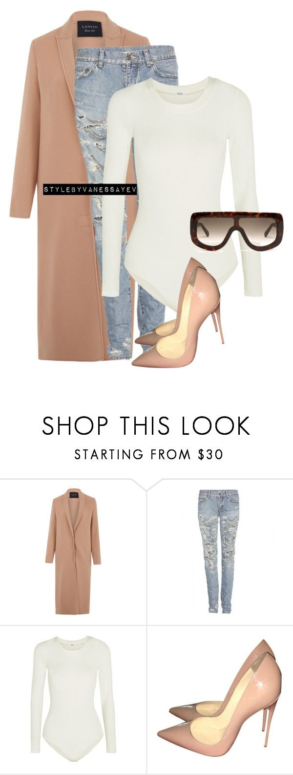 """""""#937"""" by vanessayev ❤ liked on Polyvore featuring Lanvin, Yves Saint Laurent, Wolford, Christian Louboutin and CÉLINE"""