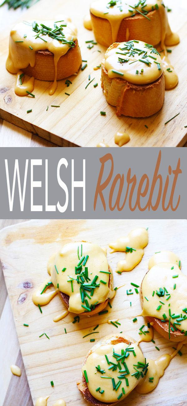 Welsh Rarebit is an amazing cheese sauce made with a nutty roux, beer, sharp cheddar, mustard, nutmeg and a pinch of cayenne.This cheesy goodness is drizzled over toasted bread, extra cheesiness for me please!  This easy and tasty recipe is traditional pub fare dating back to the 1700's.  If you don't want beer, just substitute wine or apple cider, easy! | FusionCraftiness.com | beer, cheese sauce, welsh rarebit, British recipes, cheese, toast, pub fare, vegetarian, cheddar