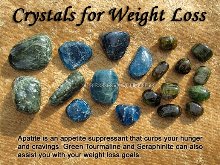 Crystals for Weight Loss — Apatite is an appetite suppressant that curbs your hunger and cravings. Green Tourmaline and Seraphinite can also assist you with your weight loss goals. Weight imbalances are associated with the Root chakra. Wear your preferred crystals as jewelry or carry them in your pocket.