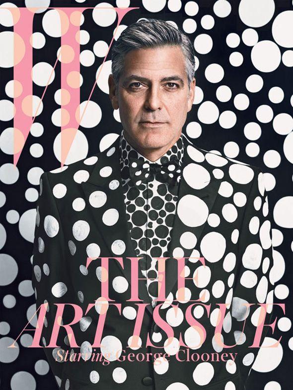 George Clooney in custom Giorgio Armani by Yayoi Kusama for W Magazine - December 2013/January 2014 Art Issue
