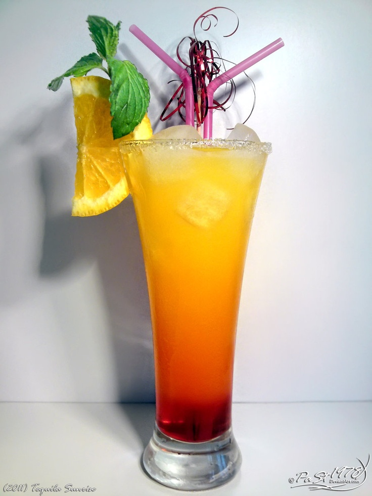 Tequila sunrise,half fill a 12-ounce glass with cracked ice, add 1/2 cup orange juice, 2 ponies (2 ounces) tequila, and lime juice to taste, and stir the drink well. Drizzle 1 teaspoon grenadine over the drink. Don't stir it or else you won't get those sexy striated colors.