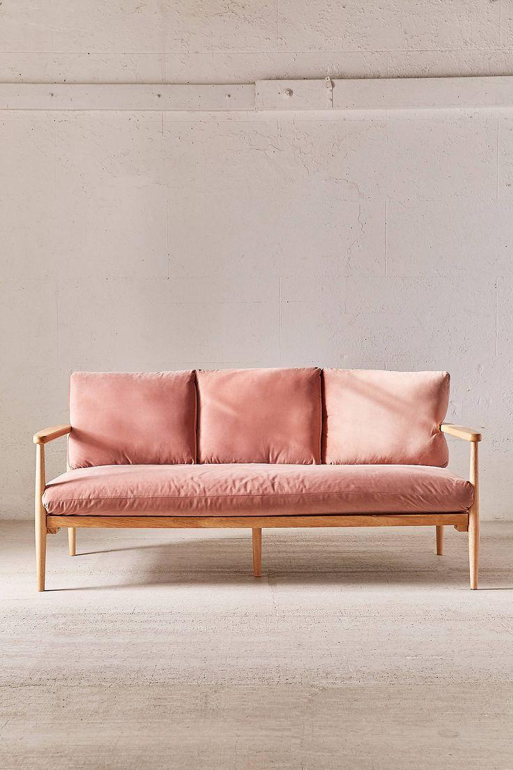pink velvet & wood sofa | Beauty at home | Pinterest ...