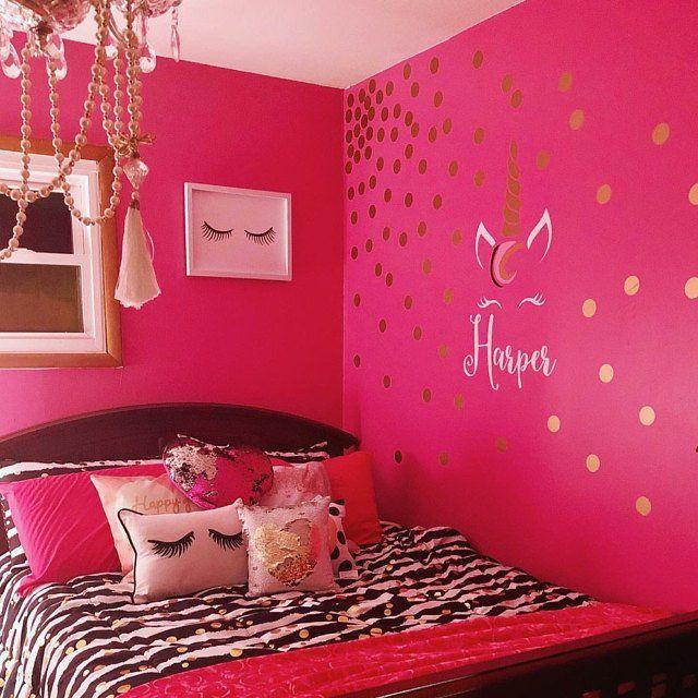 Unicorn Monogram Unicorn Themed Girls Room Unicorn Nursery Hot Pink Room Barbie Room Pink Bedroom Walls