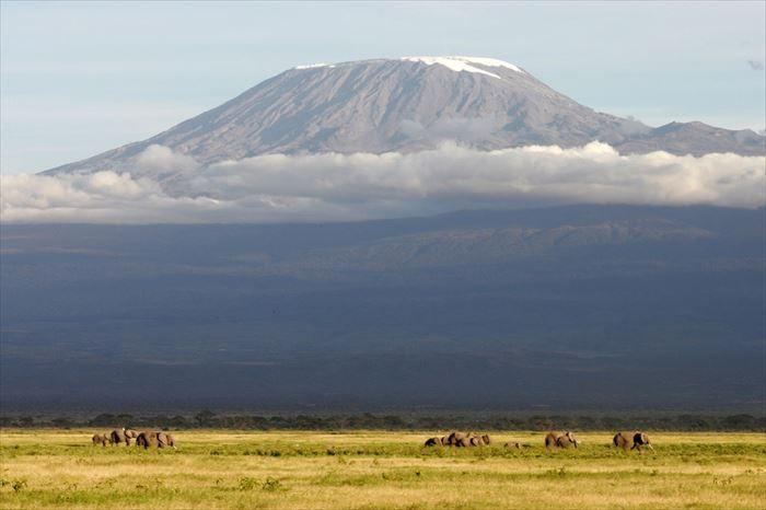 キリマンジャロ 5,895 m(タンザニア)アフリカ大陸の最高峰であり、山脈に属さない独立した山としては世界一の高さを誇る。