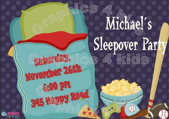 Boys sleepover Party  Sleeoover Party Birthday by Graphics4kids