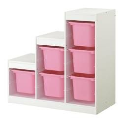 "Great storage idea for my daughter's bedroom! TROFAST storage combination, pink, white Depth: 17 3/8 "" Height: 37 "" Width: 39 3/8 "" Depth: 44 cm Height: 94 cm Width: 100 cm"