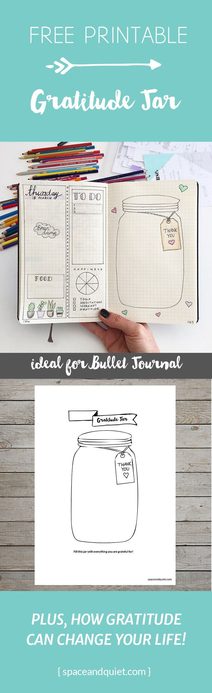 How to cultivate a weekly gratitude practice in the bullet journal. Click through to download a free printable gratitude jar.