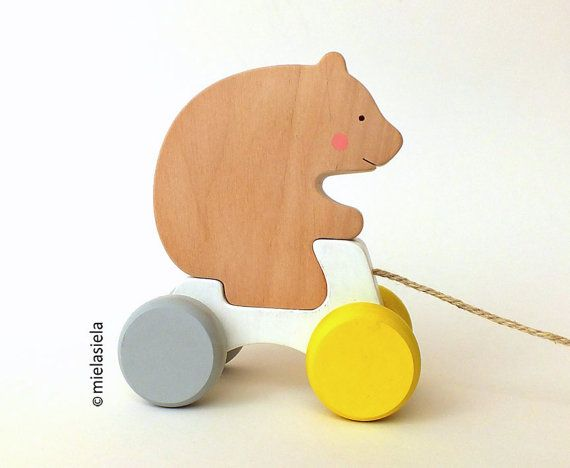 Wooden pull toy  Rolling toy  Animal pull toy  Bear от mielasiela