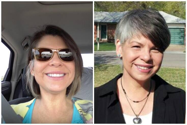 Carol Tomlin (antes y después de corte pixie)