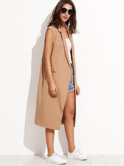 Manteau col à revers sans manche - marron