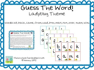 guess the word sight word game