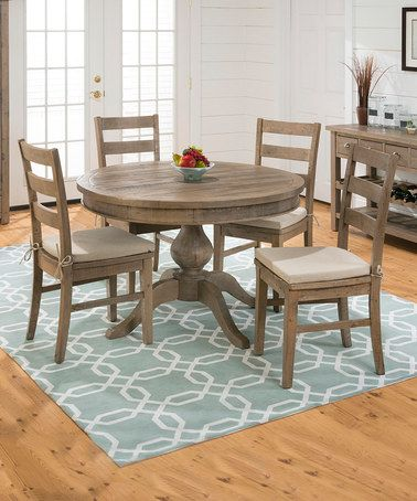 This Light Reclaimed Pine Round-to-Oval Dining Table is perfect! #zulilyfinds