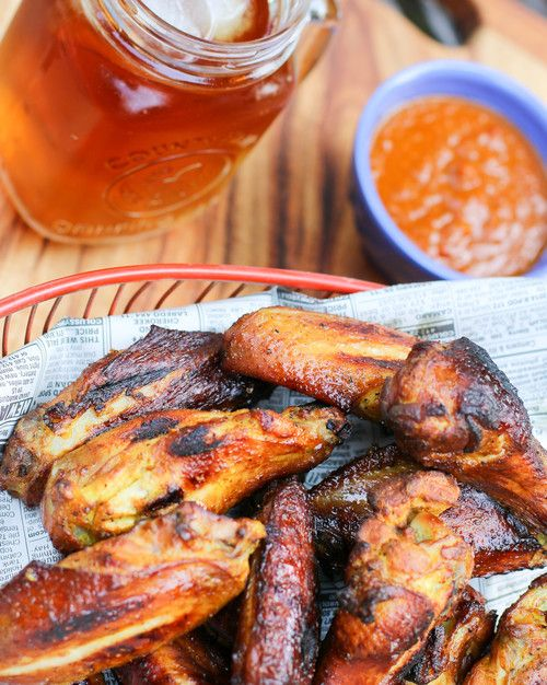 The Hungry Hounds— Smoked Wings with Rye Whiskey Peach Sauce