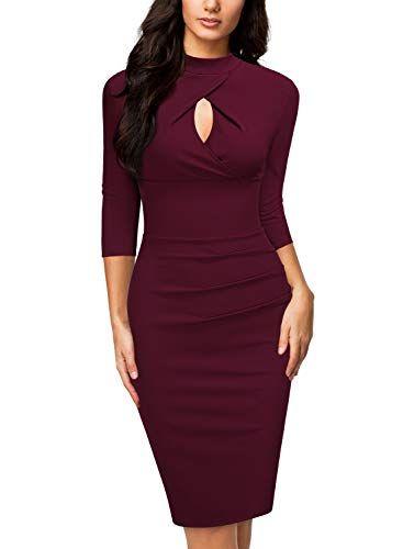 2605d9b4b49d Miusol Women's Business Slim Style Ruffle Work Pencil Dress ...
