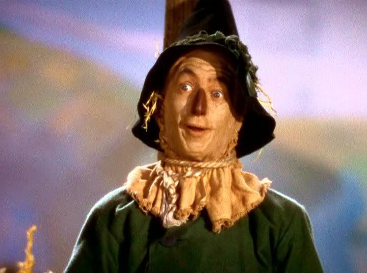 The Scarecrow is the deuteragonist of The Wonderful Wizard of Oz. He is the first ally Dorothy meets. He seeks a brain from the Wizard. In The Wizard of Oz film, He is portrayed by Ray Bolger. Bolger also played Aunt Em and Uncle Henry's farmworker, Hunk.